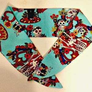 Day of the Dead Turquoise Scarf